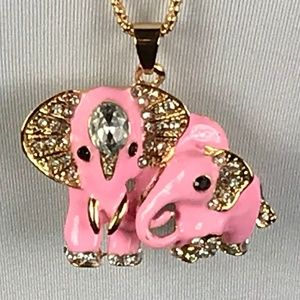 Betsey Johnson Necklace Elephant Mom Baby Pink